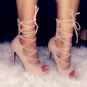 Laced up suede heels